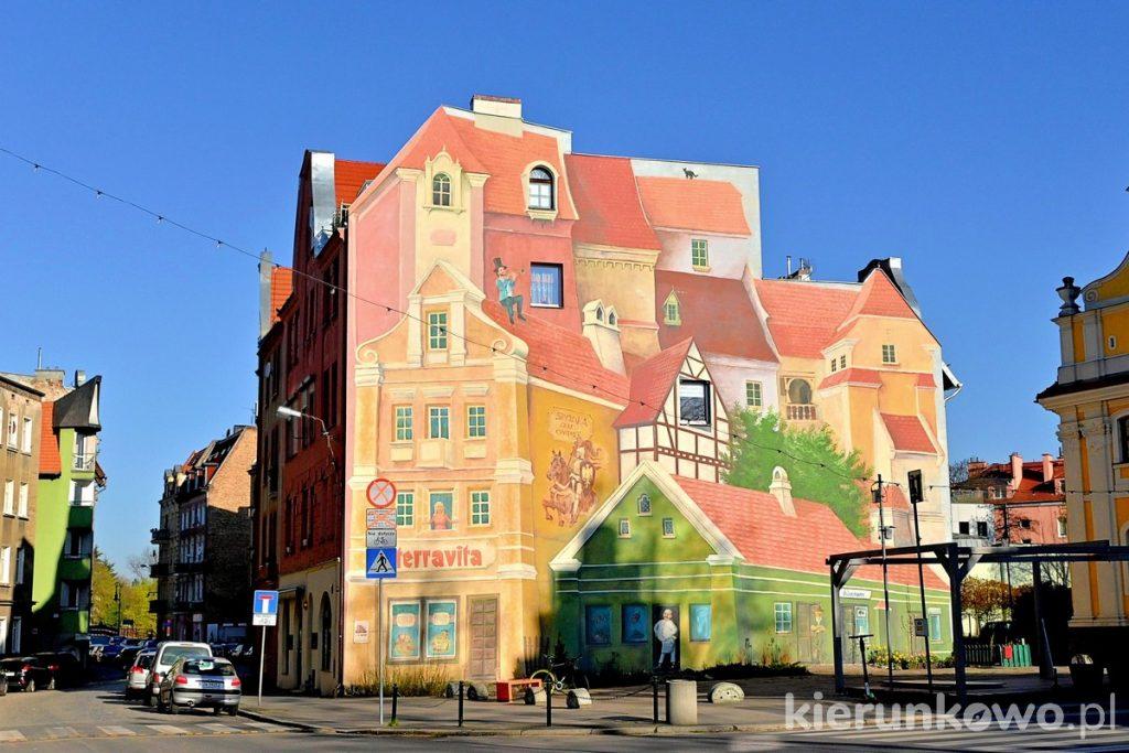 mural na Śródce Mural - Opowieść śródecka z trębaczem na dachu i kotem w tle